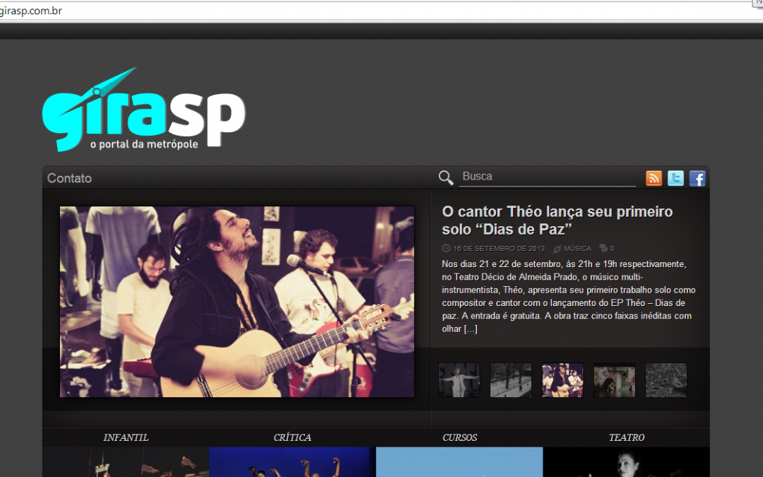 Shows em destaque na home do site Guia SP