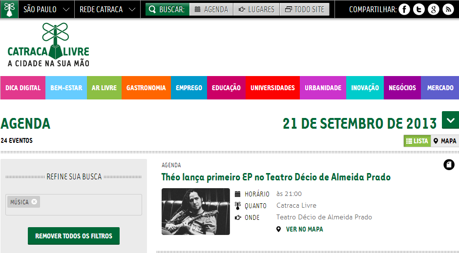 Shows na agenda cultural do Catraca Livre.