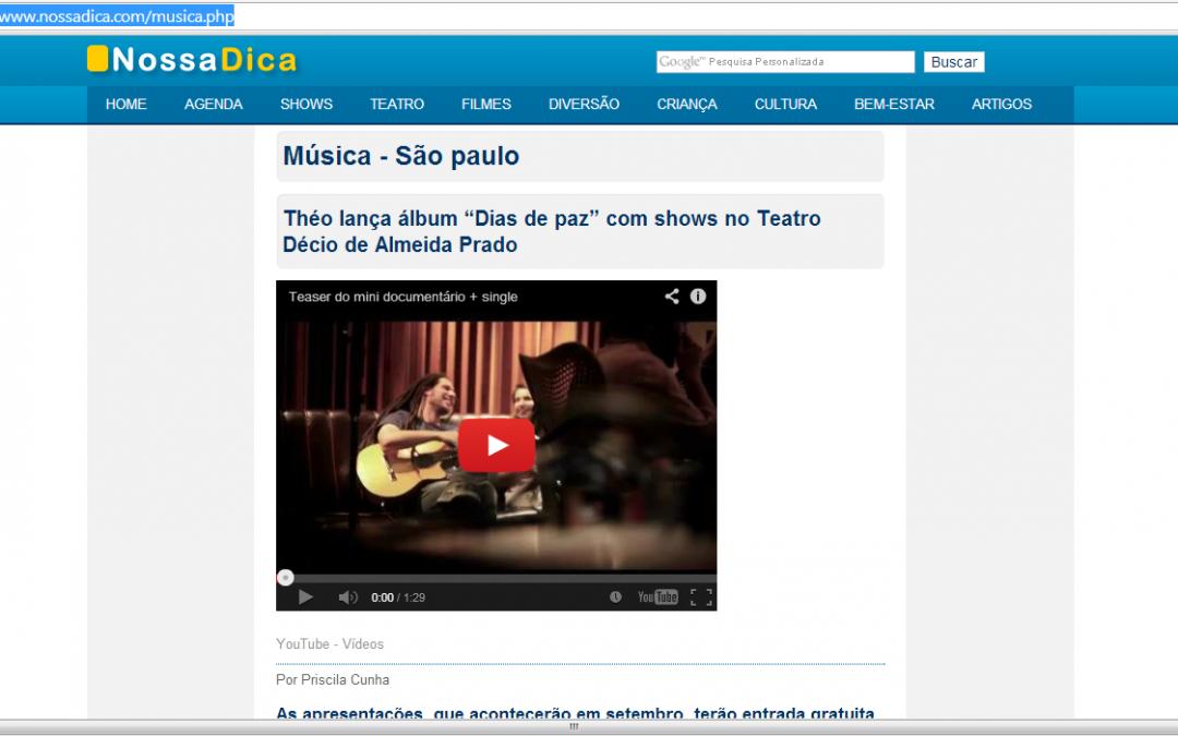 Teaser em destaque na divulgação do site NossaDica