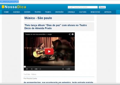 Shows de lançamento do EP no site de cultura NossaDica