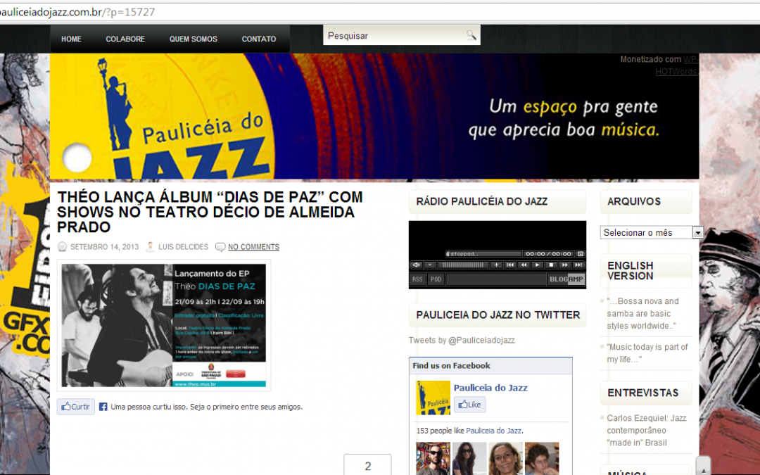 Site Paulicéia do Jazz divulga shows de lançamento do EP
