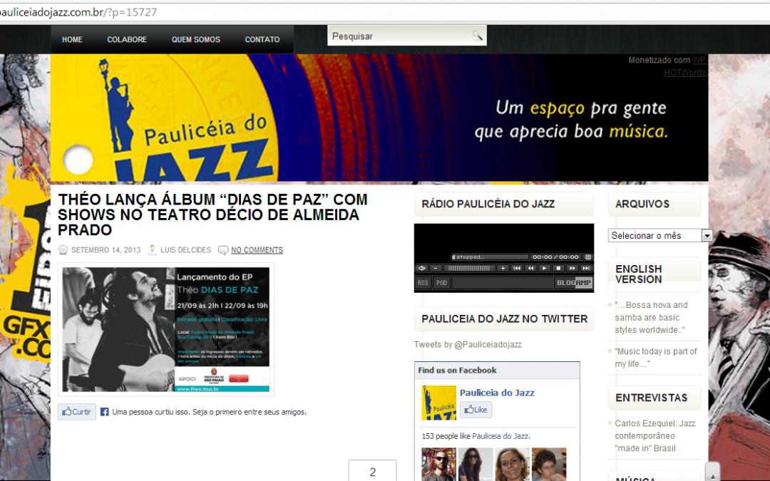 """Shows de lançamento do EP """"Théo - Dias de paz"""" no site Paulicéia Jazz"""