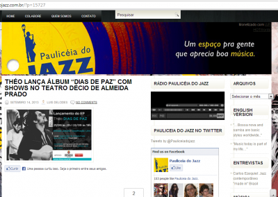 Site Paulicéia do Jazz divulga shows de lançamento do EP
