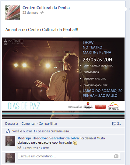 "Flyer do show Théo - ""Dias de Paz"" na Fan Page Oficial do Centro Cultural Penha"