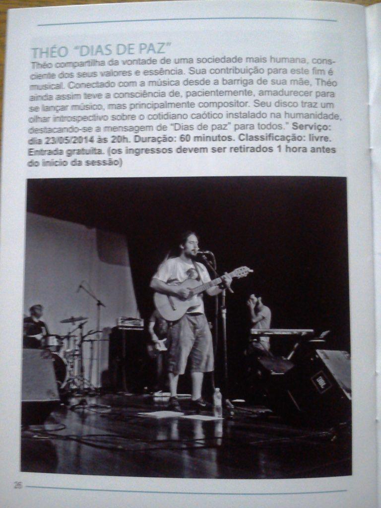 """Release do show Théo - """"Dias de Paz"""" na programação do Centro Cultural Penha"""