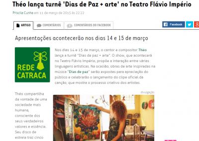 """Show """"DIAS DE PAZ + ARTE"""" e clipe oficial são destaques no Catraca Livre"""