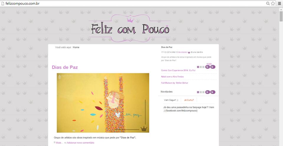 """""""Dias de Paz"""" no Blog Feliz com Pouco"""