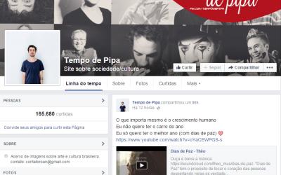 """Clipe """"Dias de Paz"""" na página Tempo de Pipa"""