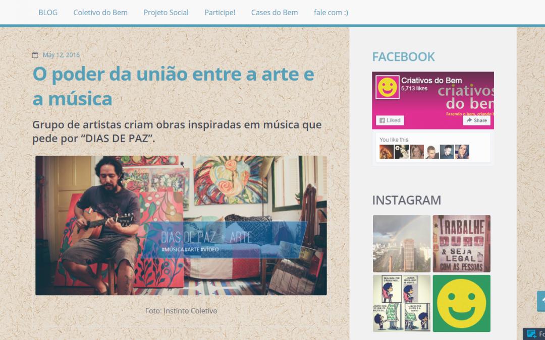 """""""DIAS DE PAZ + ARTE"""" no Blog Criativos do Bem"""