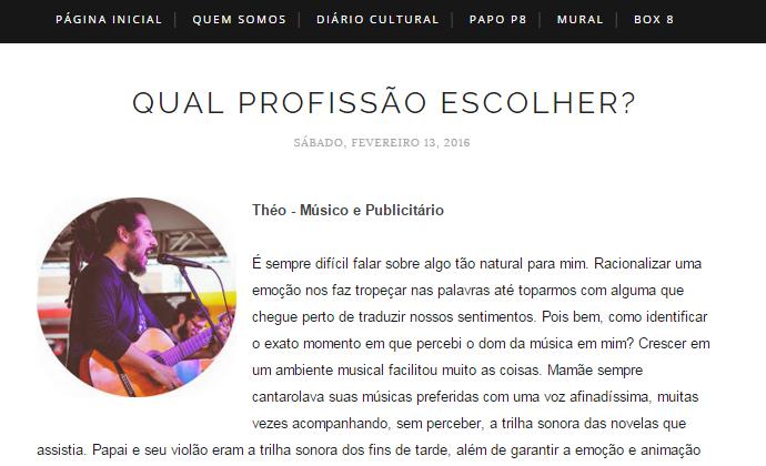 Théo dá dicas sobre carreira musical no Blog Polaroid 8