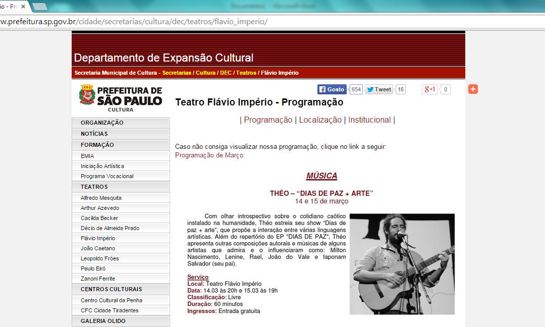 """Show """"DIAS DE PAZ + ARTE"""" na programação cultural da Prefeitura de São Paulo"""